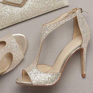 David's Bridal Saylor glittery t strap heels